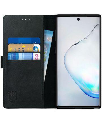 Rosso Deluxe Samsung Galaxy Note 10 Hoesje Echt Leer Book Case Zwart