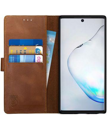 Rosso Deluxe Samsung Galaxy Note 10 Hoesje Echt Leer Book Case Bruin Hoesjes
