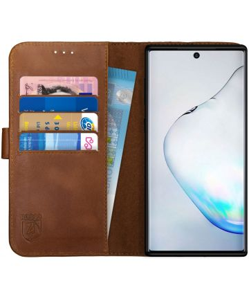 Rosso Deluxe Galaxy Note 10 Plus Hoesje Echt Leer Book Case Bruin Hoesjes