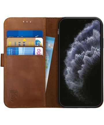 Rosso Deluxe Apple iPhone 11 Pro Hoesje Echt Leer Book Case Bruin