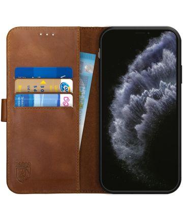 Rosso Deluxe Apple iPhone 11 Pro Max Hoesje Echt Leer Book Case Bruin Hoesjes