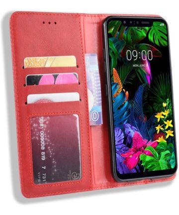 LG G8s Stijlvol Vintage Portemonnee Hoesje Rood Hoesjes