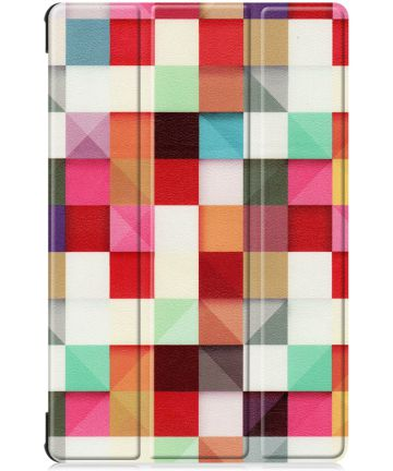 Samsung Galaxy Tab S6 Book Hoes met Print Colorful Square Hoesjes