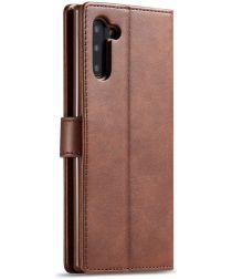 Samsung Galaxy Note 10 Leren Portemonnee Bookcase Hoesje Donker Bruin