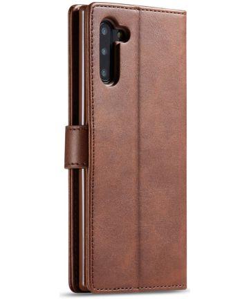 Samsung Galaxy Note 10 Leren Portemonnee Bookcase Hoesje Donker Bruin Hoesjes