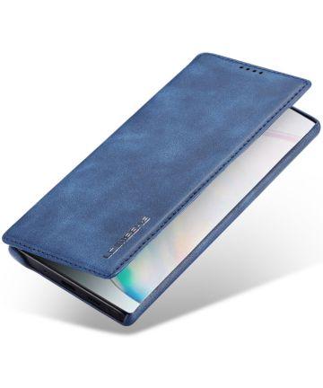 Samsung Galaxy Note 10 Retro Portemonnee Bookcase Hoesje Blauw Hoesjes
