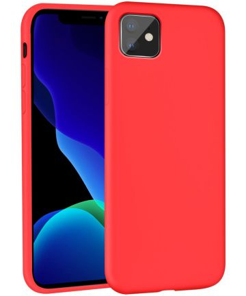 Apple iPhone 11 Hoesje Full Covered Siliconen Rood Hoesjes