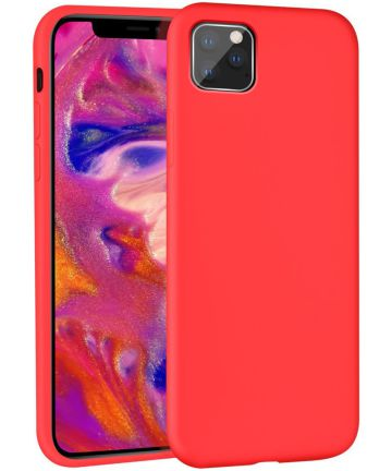 Apple iPhone 11 Pro Max Full Covered Siliconen Hoesje Rood Hoesjes