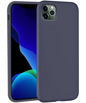 Apple iPhone 11 Pro Max Full Covered Siliconen Hoesje Blauw Hoesjes