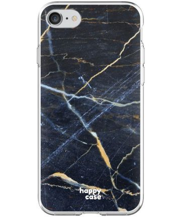 HappyCase Apple iPhone 8 Flexibel TPU Hoesje Donker Marmer Print