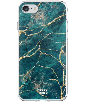 HappyCase Apple iPhone 8 Flexibel TPU Hoesje Aqua Marmer Print Hoesjes