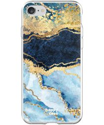 HappyCase Apple iPhone 8 Flexibel TPU Hoesje Blauw Marmer Print