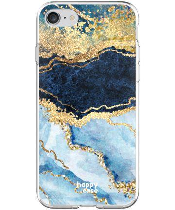 HappyCase Apple iPhone 8 Flexibel TPU Hoesje Blauw Marmer Print Hoesjes