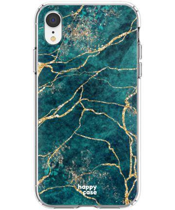 HappyCase Apple iPhone XR Flexibel TPU Hoesje Aqua Marmer Print