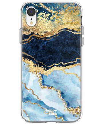 HappyCase Apple iPhone XR Flexibel TPU Hoesje Blauw Marmer Print