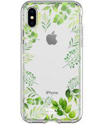 HappyCase Apple iPhone XS Flexibel TPU Hoesje Leaves Print