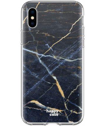 HappyCase Apple iPhone XS Flexibel TPU Hoesje Donker Marmer Print Hoesjes