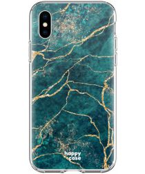HappyCase Apple iPhone XS Flexibel TPU Hoesje Aqua Marmer Print