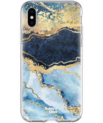 HappyCase Apple iPhone XS Flexibel TPU Hoesje Blauw Marmer Print Hoesjes