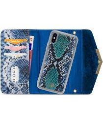 Mobilize Velvet Clutch Apple iPhone XS / X Hoesje Royal Blue Snake