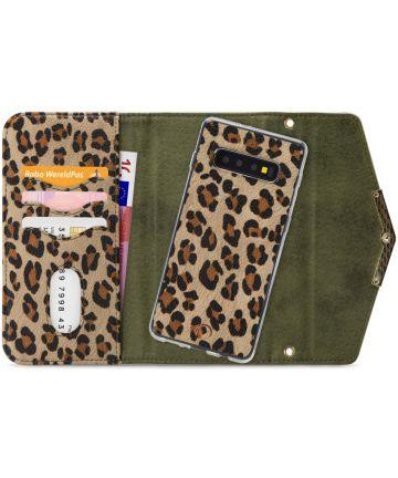 Mobilize Velvet Clutch Samsung Galaxy S10 Hoesje Green Leopard Hoesjes