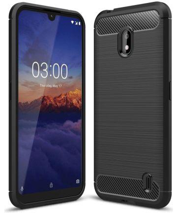 Nokia 2.2 Geborsteld TPU Hoesje Zwart Hoesjes