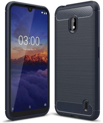 Nokia 2.2 Geborsteld TPU Hoesje Blauw Hoesjes