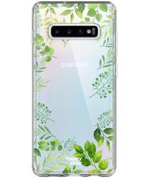 HappyCase Galaxy S10 Plus Flexibel TPU Hoesje Leaves Print