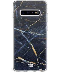 HappyCase Galaxy S10 Plus Flexibel TPU Hoesje Donker Marmer Print