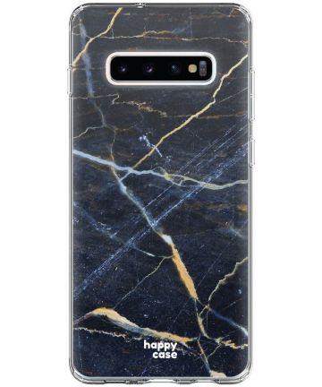 HappyCase Galaxy S10 Plus Flexibel TPU Hoesje Donker Marmer Print Hoesjes
