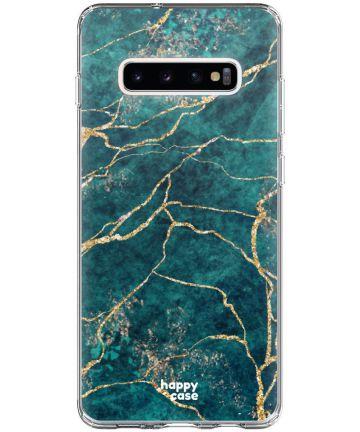 HappyCase Galaxy S10 Plus Flexibel TPU Hoesje Aqua Marmer Print Hoesjes