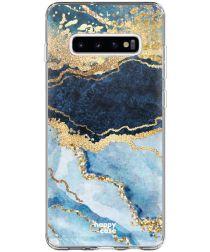 HappyCase Galaxy S10 Plus Flexibel TPU Hoesje Blauw Marmer Print