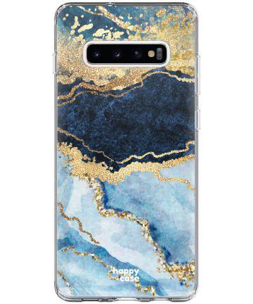 HappyCase Galaxy S10 Plus Flexibel TPU Hoesje Blauw Marmer Print Hoesjes