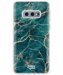 HappyCase Galaxy S10E Flexibel TPU Hoesje Aqua Marmer Print
