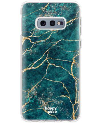 HappyCase Galaxy S10E Flexibel TPU Hoesje Aqua Marmer Print Hoesjes