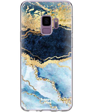 HappyCase Galaxy S9 Flexibel TPU Hoesje Blauw Marmer Print Hoesjes