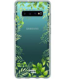 HappyCase Galaxy S10 Flexibel TPU Hoesje Leaves Print
