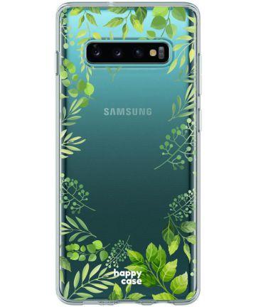 HappyCase Galaxy S10 Flexibel TPU Hoesje Leaves Print Hoesjes
