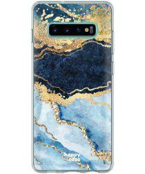 HappyCase Galaxy S10 Flexibel TPU Hoesje Blauw Marmer Print