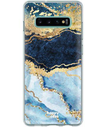 HappyCase Galaxy S10 Flexibel TPU Hoesje Blauw Marmer Print Hoesjes