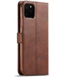 Apple iPhone 11 Pro Max Stand Portemonnee Bookcase Hoesje Donkerbruin