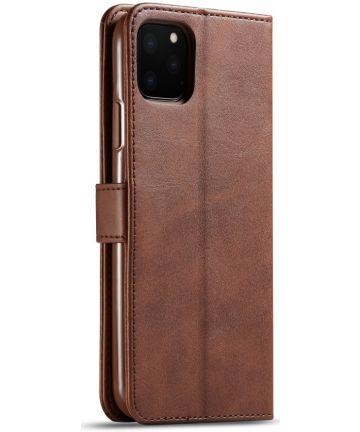 Apple iPhone 11 Pro Max Stand Portemonnee Bookcase Hoesje Donkerbruin Hoesjes