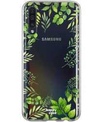 HappyCase Samsung Galaxy A70 Flexibel TPU Hoesje Leaves Print
