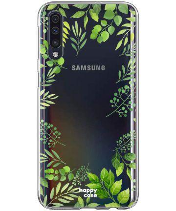 HappyCase Samsung Galaxy A70 Flexibel TPU Hoesje Leaves Print Hoesjes