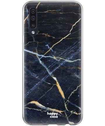HappyCase Samsung Galaxy A70 Flexibel TPU Hoesje Donker Marmer Print Hoesjes