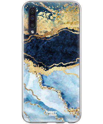 HappyCase Samsung Galaxy A70 Flexibel TPU Hoesje Blauw Marmer Print Hoesjes