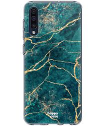 HappyCase Samsung Galaxy A50 Hoesje Flexibel TPU Aqua Marmer Print
