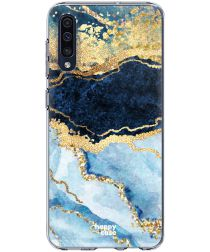 HappyCase Samsung Galaxy A50 Hoesje Flexibel TPU Blauw Marmer Print