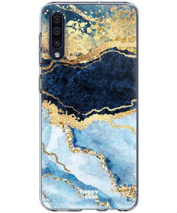 HappyCase Samsung Galaxy A50 Hoesje Flexibel TPU Blauw Marmer Print Hoesjes