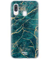 HappyCase Samsung Galaxy A40 Flexibel TPU Hoesje Aqua Marmer Print